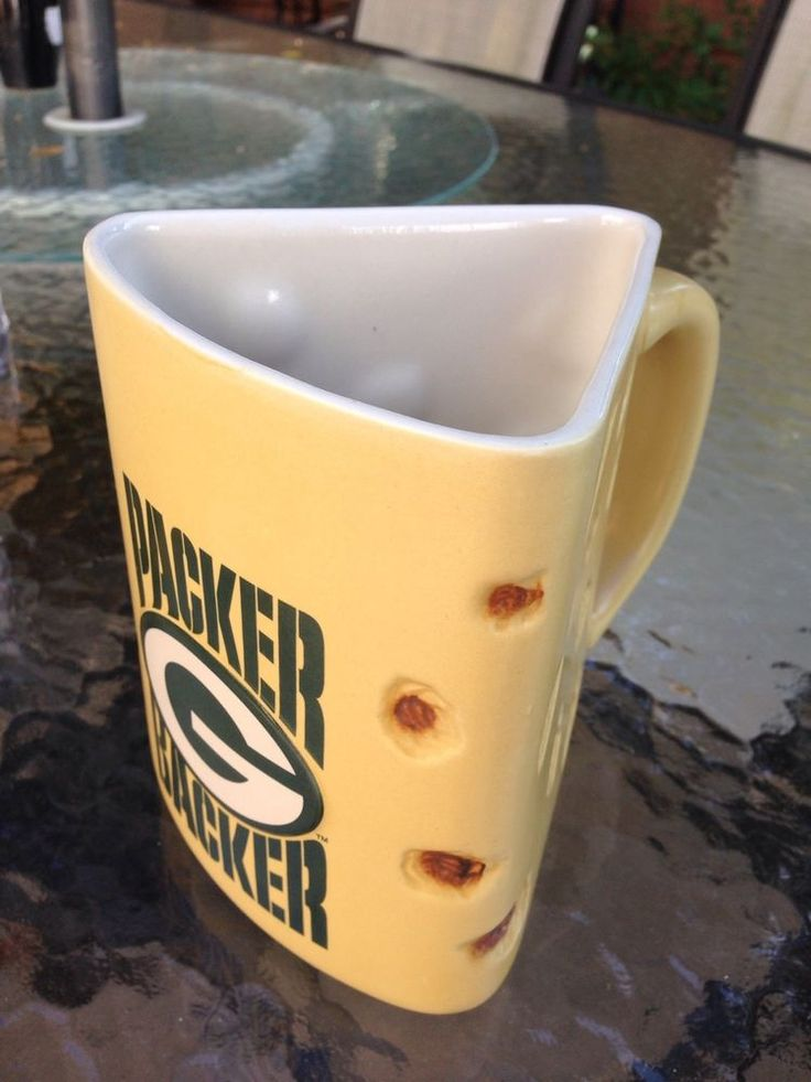 NFL Green Bay Packer Backer~Big 32 oz. Wedge-Shaped Cheese Head Mug Cup