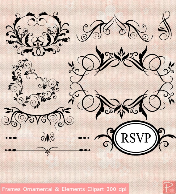 Vintage Frames Ornamental Elements Clipart set with Digital Paper pack - scrapbook, tags, invitation, stationary -cpA233- BUY 1 GET 1 FREE. $5.00, via Etsy.