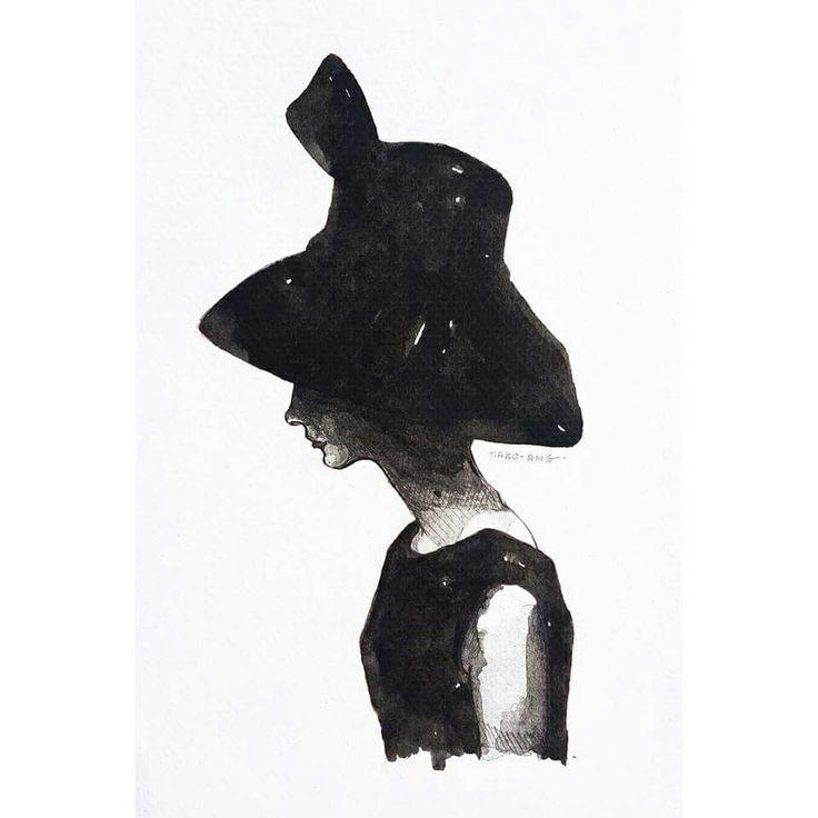 Audrey Hepburn #blackandwhite #watercolor #일러스트 #audreyhepburn