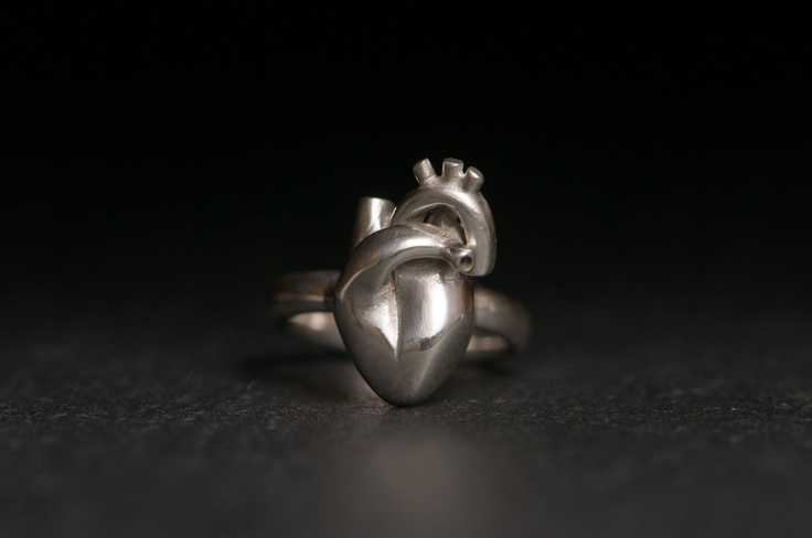 William White - Heart Ring - Sterling Silver Anatomical Heart Ring. $95.00, via Etsy.