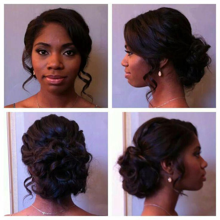 Schöne Hochzeitstag Frisur für schwarze Frauen.
