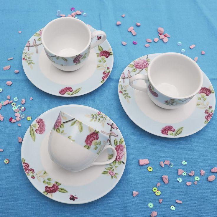 Έξι φλυτζάνια με τα πιατάκια τους για τον ελληνικό καφέ ή το εσπρέσσο, από φίνα ευρωπαϊκή πορσελάνη, με τριαντάφυλλα σε παλ γαλάζιο χρώμα. Συνδυάστο το με το σετ πάστας ή το σετ φαγητού Roza!