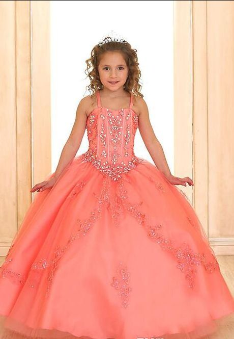 Coral Luxury Princess Ball Gown for Girls Pageant