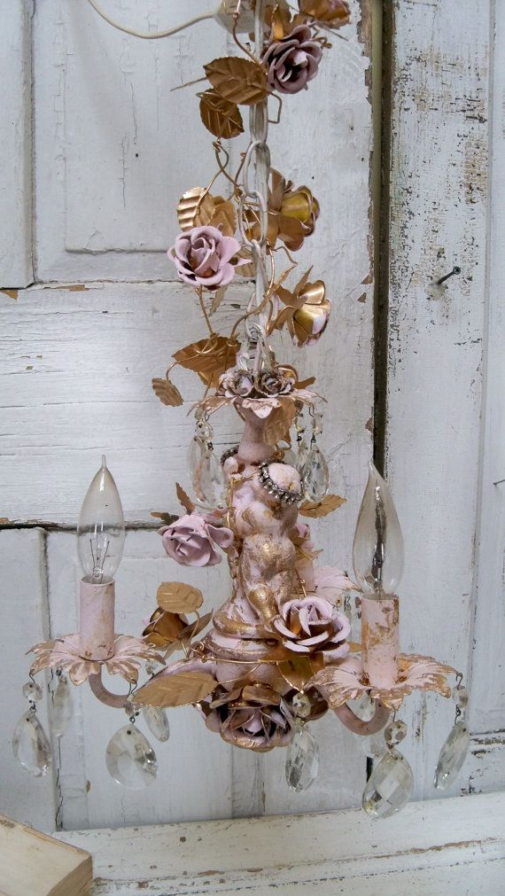 Chandelier shabby chic pink gold cherubs roses by AnitaSperoDesign, $295.00