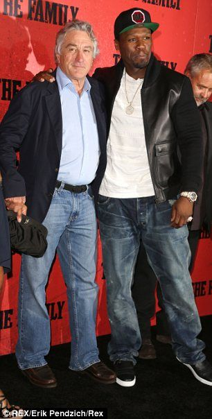 """50 Cent and his co-Star Robert DeNiro at the movie premiere """"The Family"""""""