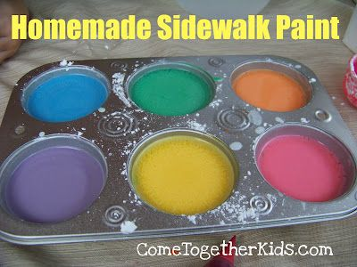 Homemade Sidewalk Paint ~ way cheaper than the store bought stuff