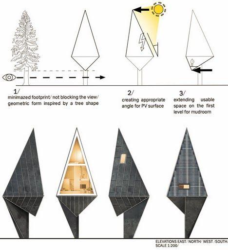 un árbol como modelo de casa