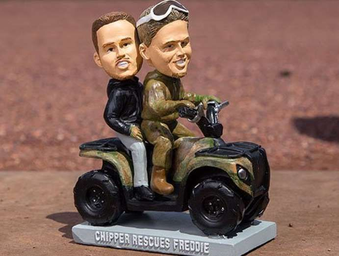 "BRAVES: CHIPPER JONES AND FREDDIE FREEMAN  -    Remember the Great Atlanta ""Blizzard"" of 2014 that managed to bring the city to its knees with a mix of ice and snow? Freddie Freeman got stuck in it, and Chipper Jones used his ATV to save him. That hilariously cute moment was immortalized with a bobblehead, because baseball immortalizes everything with bobbleheads.   . -   Most interesting recent MLB bobbleheads  -  April 1, 2017"
