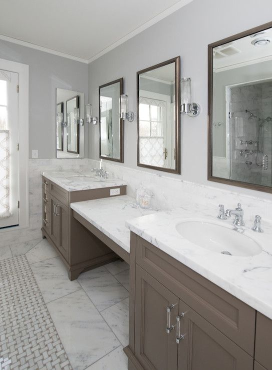 Subway Tile With Dark Grout Kitchen Lab - Bathrooms - Long Bathroom, Elegant Bathroom