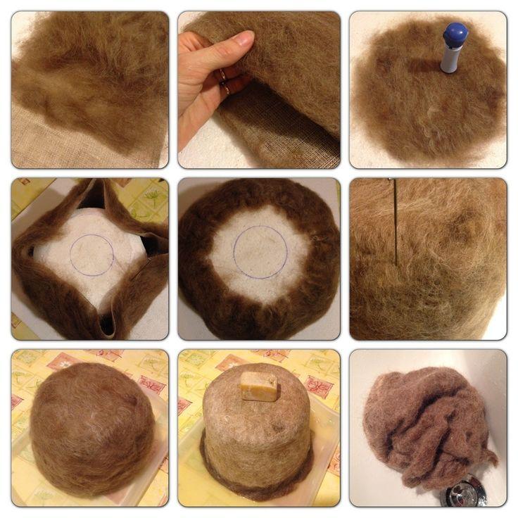 Det finns flera sätt att tova en hatt eller mössa på. Man kan svepa in en stor boll med ull och trä på en strumpbyxa innan man börjar tova. Eller så kan man klä en platt form med ull – anting…