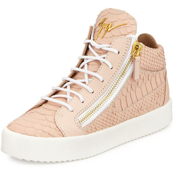 Giuseppe Zanotti Snake-Embossed High-Top Sneaker found on Polyvore featuring shoes, sneakers, golia print rosa, hi tops, giuseppe zanotti high tops, high top shoes, print sneakers and cushioned shoes