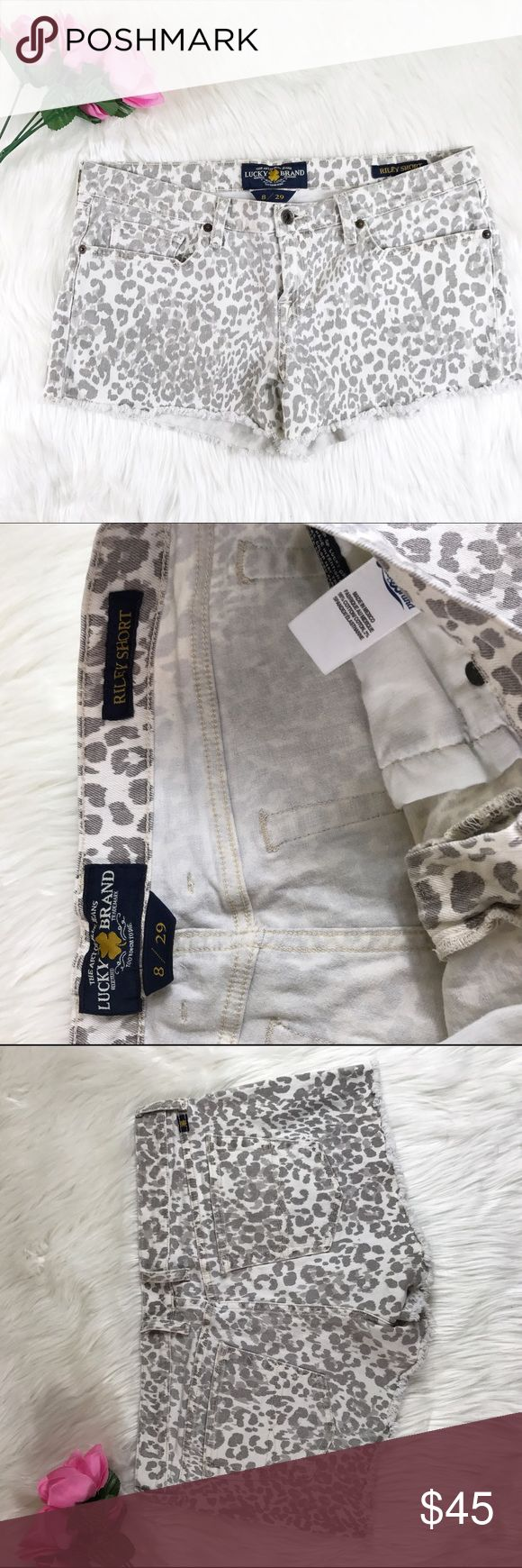 """Lucky Brand Riley spring cheetah shorts Excellent condition, no sign of wear. Size 8/29. Waist across 16.5"""" Waist down 10"""" Inseam 3"""" Lucky Brand Shorts Jean Shorts"""