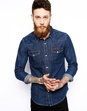 Image 1 of Lee Western Denim Shirt Slim Fit Dark Rinse Wash