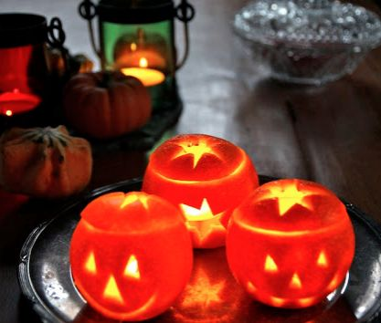 These cute little Halloween Orange Lanterns will brighten up any Halloween party and they smell lovely!