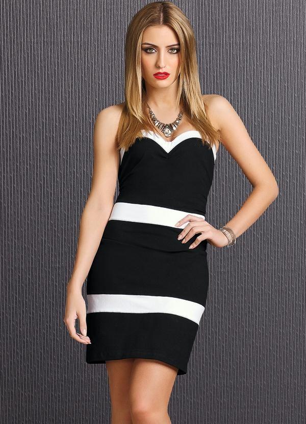 eb2a40000 Vestido Preto e Branco Tomara que Caia - Quintess | roupas | Black ...