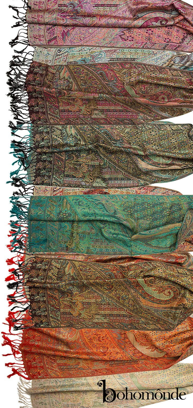 The Rajana Pashmina : Named after the Indian word for king, this #Pashmina scarf is the epitome of royal.  In lush, rich jewel tones worked in an absolutely stunning traditional indian woven pattern, this twisted knotted fringe scarf features gorgeous Indian pashmina fabric in a classic style!  You need this pashmina scarf. Made of silk and pashmina, the same fabric as our popular rajana infinity.