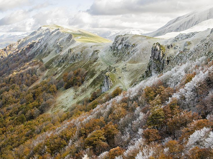 Frost stipples trees and peaks in Aquitaine, a region in southwest France. High in the Pyrenees in the far south is French Basque country, a land with its own language, racial identity, cuisine, and customs