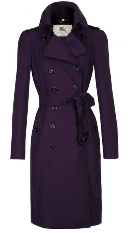 Limited Edition Burberry Trench Coats For Liberty are made exclusively in Liberty's deep purple for women and black for men.