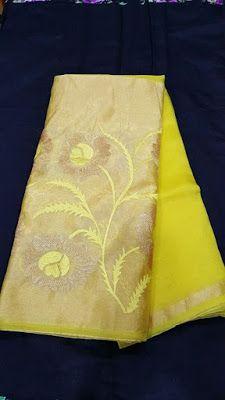 Pure Organza Sarees with kaddi Floral embroidery.| Buy Online Sarees | Elegant Fashion Wear
