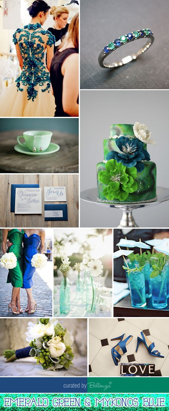 Inspiration and Ideas for Emerald Green and Blue Wedding