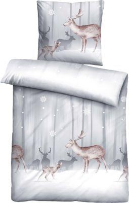 #Unisex #Biber #Bettwäsche #Snow #weiss #grau   #135 #x 200 #  #80 #x #80 Winterlichen Charme versprüht diese biberna Biber-Bettwäsche mit ihrem Hirschdessin. Die Oberfläche ist weich angeraut und bietet ein hohes Warmhaltevermögen - ideal für kühlere Nächte. - beeinhaltet Kissenbezug und Deckenbezug - Verschluss: Reißverschluss Material: 100% Baumwolle ---Pflegehinweise--- - Maschinenwäsche bei 60° C, von links - für den Trockner geeignet