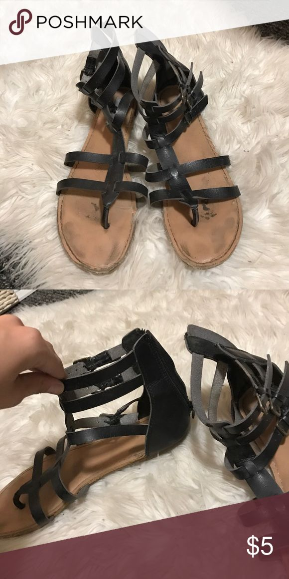 black strappy sandals obvious wear.. price reflects that! still have lots of life Tilly's Shoes Sandals