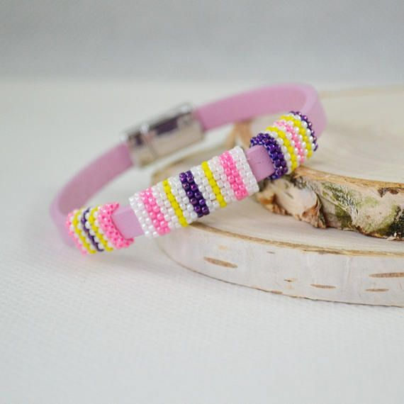 Stripes Pink bracelet Magnetic clasp Women Natural strap Cute