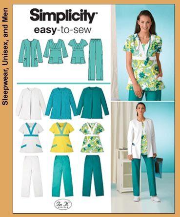 Simplicity 3542 Misses or Plus Size Scrub Pants, Top & Jacket