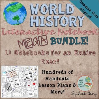 All of my World History Interactive Notebook Bundles - Discounted MEGA Bundle-Plus, 2  more notebooks coming. If you purchase this now, when I add themyoull get them at no additional charge!(Note: If you are looking for a district license or you have already purchased most of these and want to get the rest with this great discount, just email me at ljputty@msn.com )With this purchase, you will get a link to all the zip files for immediate download.Here's what is included so far:Ancient…