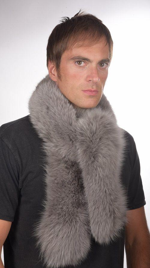 Sciarpa uomo pelliccia volpe azzurra  www.amifur.com