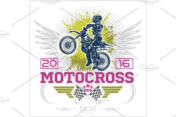 Extreme motocross. Emblem, t-shirt design. by Digital-Clipart on @Graphicsauthor