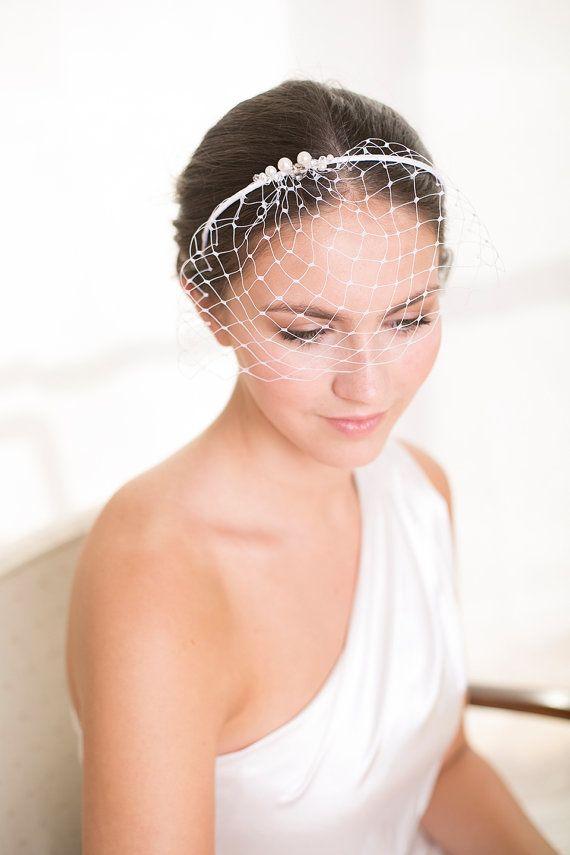 Velo da sposa birdcage con fascia di Swarovski perle e cristalli, perline nozze velo, nuziale birdcage