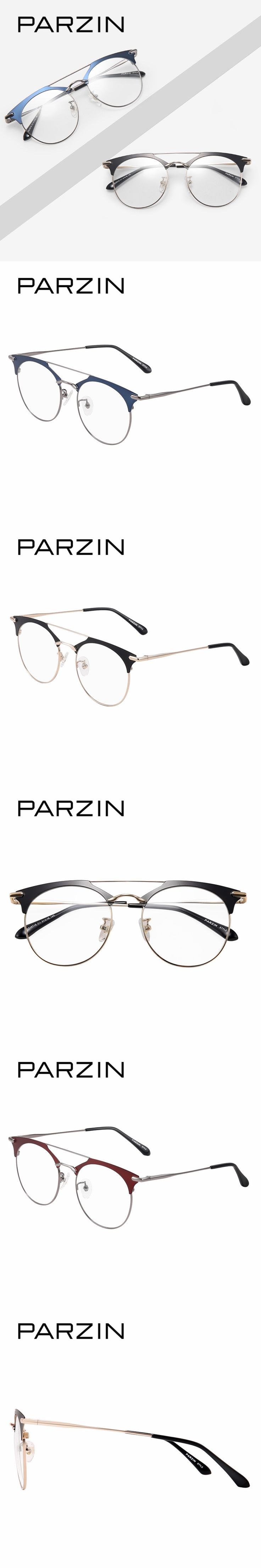 PARZIN Semi Rimless Round Glasses Frames With Clear Lens Top Grade Prescription Eyeglass Frames With Anti-Blue Glasses