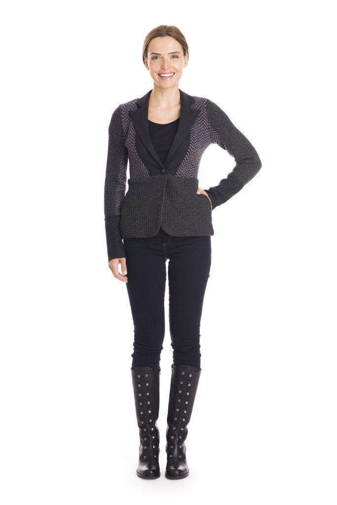 Upcycled wool sweater blazer in grey and herringbone.  By Jennifer Fukushima, made in Canada.