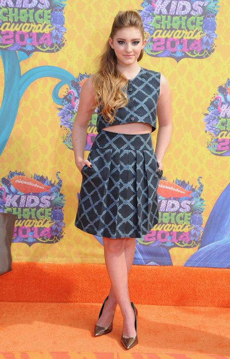 Hunger Games star Willow Shields in Timo Weiland at the Kids' Choice Awards