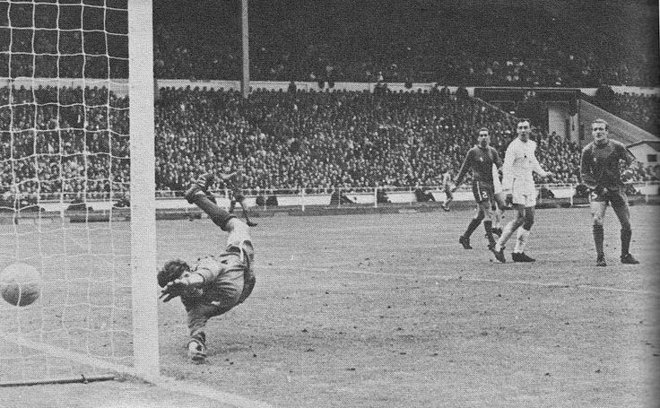 20th May 1967. Chelsea goalkeeper Peter Bonetti is beaten by a shot from Spurs Frank Saul, in the FA Cup Final.