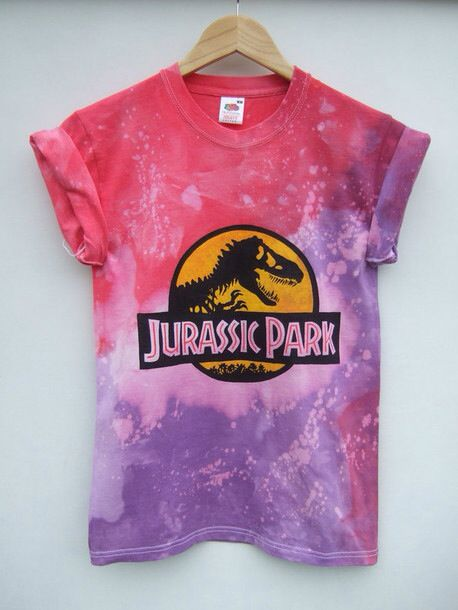 Jurassic Park T shirt girls women pink and purple dye