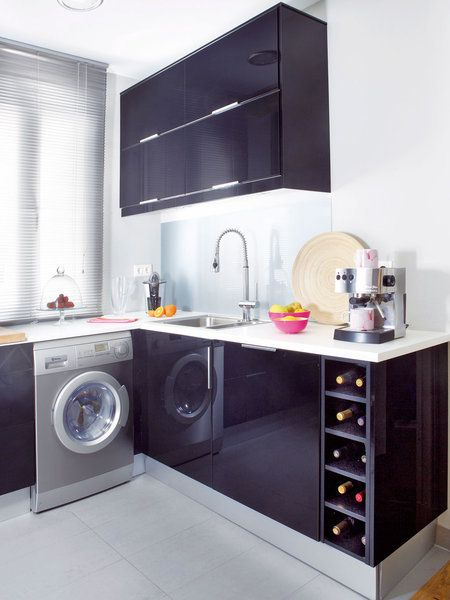 Cocina con muebles negros