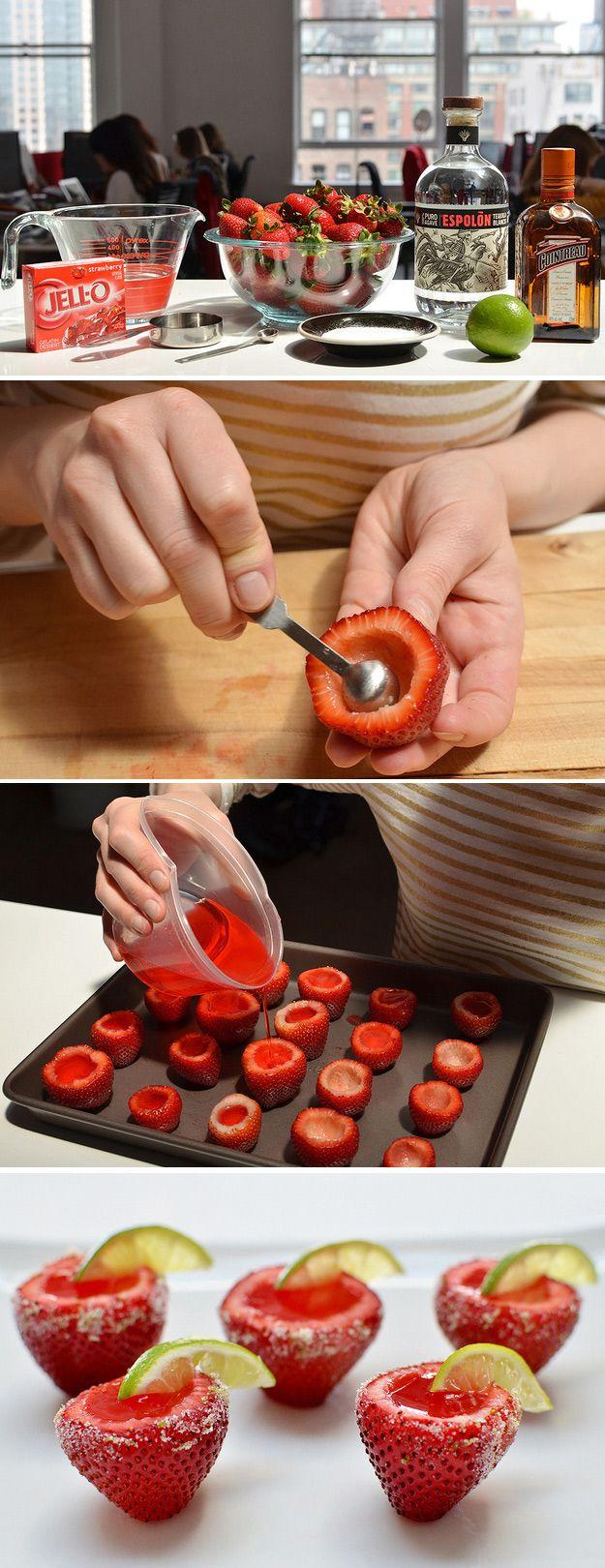 Strawberry Margarita Jello-O-Shots Se pueden rellenar de cualquier cosa que la imaginación y la creatividad nos permita¡¡ mcga.-
