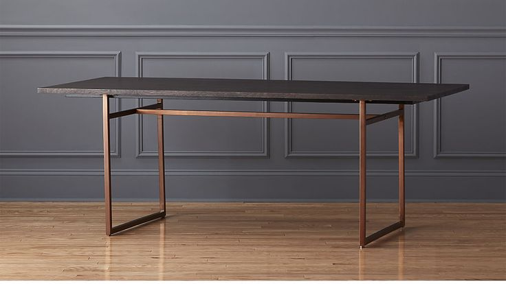 anezi dining table | CB2 the black top would look great with your soap stone and the legs tie in with the new light fixture but it's only a 6 seater 80""