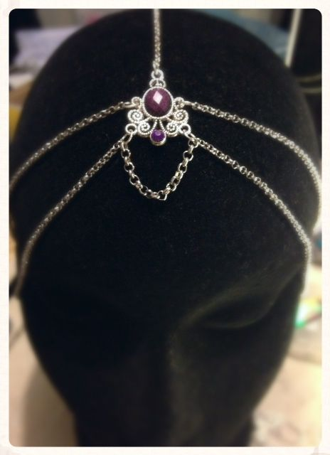 Handmade Purple Madeira Silver Head Chain