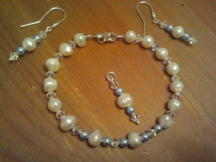 Handmade - pearls, swarowski cristals and sterling silver 925