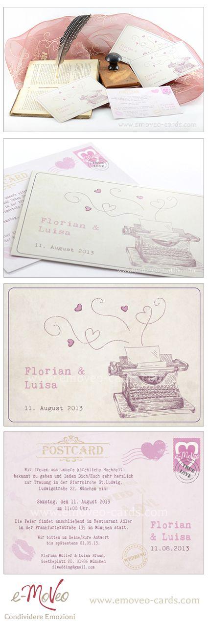 Vintage wedding invitation card - writing machine by e-MoVeo cards Partecipazioni matrimonio stile vintage ocn macchina da scrivere Vintage Hochzeitseinladungen www.emoveo-cards.com