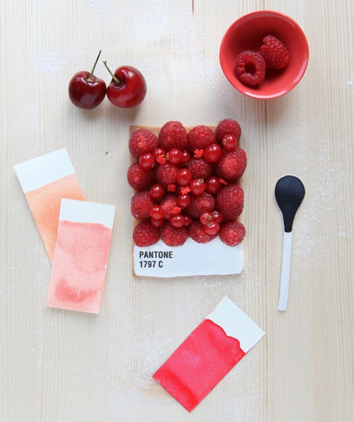 French food designerEmilie de Griottesmade these edible Pantone Tarts for food magazine Fricote via CIP Creative blog- Pantone 1797C