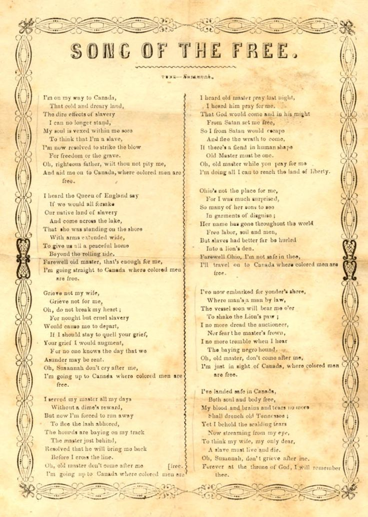 """""""Song of the Free"""" is a song of the Underground Railroad written in 1860 about a man fleeing slavery in Tennessee  by escaping to Canada via the Underground Railroad. It is composed to the tune of """"Oh! Susanna""""."""