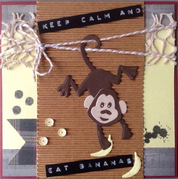 """""""Keep calm and eat bananas"""" met het aapje van Marianne Design COL1399"""