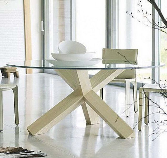 Round Glass Top Dining Table With Wood Legs   Http://quickhomedesign.com