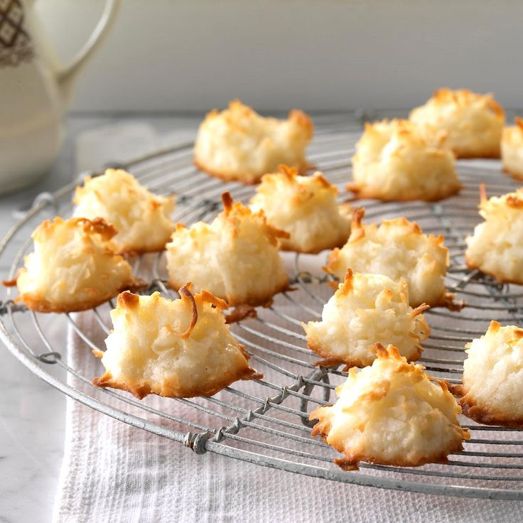 First Place Coconut Macaroons Recipe -These coconut macroon cookies earned me a first-place ribbon at the county fair. They remain my husband's favorites—whenever I make them to give away, he always asks me where his batch is! I especially like the fact that this coconut macaroon recipe makes a small enough batch for the two of us to nibble on. —Penny Ann Habeck, Shawana, Wisconsin