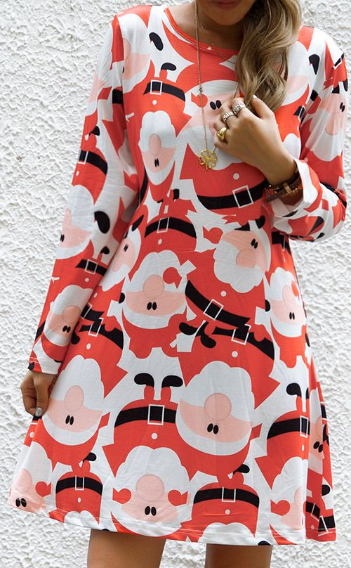 Like Christmas with $23.99&free shipping! This long sleeve mini dress is detailed with Santa print&round neck. Dress sweet babe!