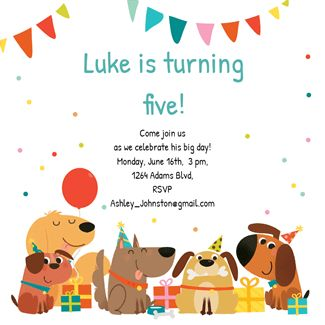 Delighted Dogs printable invitation template. Customize, add text and photos.  Print, download, send online or order printed!